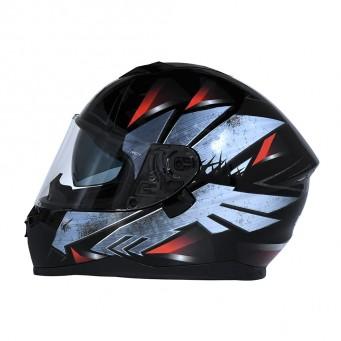 Casco Bieffe Int. B67 Steel Negro/plateado/rojo T M