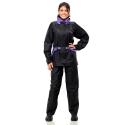 Conj. Lluvia Nylon 1100 Fem. C/ Capucha Y Cinto Negro/violeta L