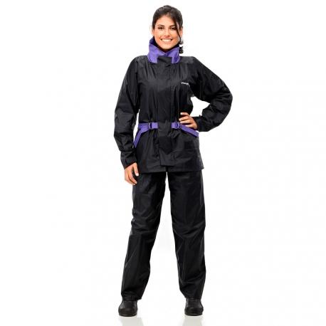 Conj. Lluvia Nylon Fem. C/ Capucha Y Cinto Negro/violeta M