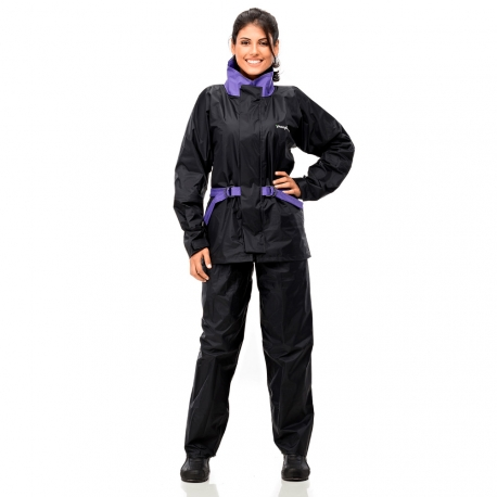 Conj. Lluvia Nylon Fem. C/ Capucha Y Cinto Negro/violeta Xl