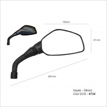Espejo Rouser Ns200  Izquierdo Negro  (rosca M10 Der) (izq)