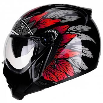 Casco Mirage Apache Negro/rojo T58
