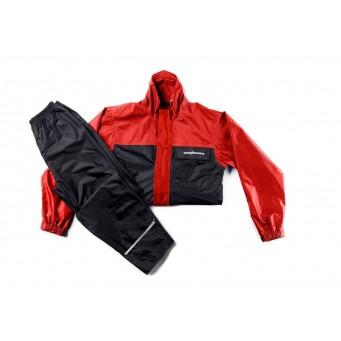 Conj. Lluvia Nylon 1300 Lujo C/ Forro Y Ventil. Rojo/negro T Exxxl