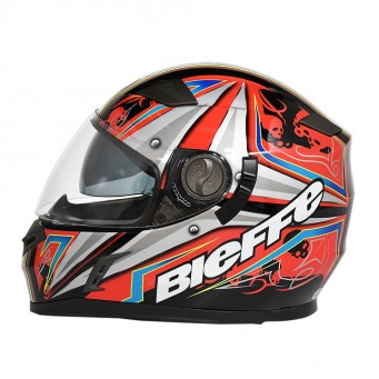 Casco Bieffe Int. B52 Sparkle Negro/rojo-plateado T M